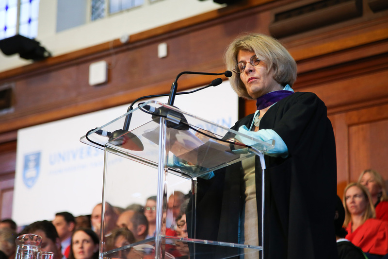 UCT alumnus, philanthropist and pioneer Annette-Campbell White addresses graduands and their loved ones.