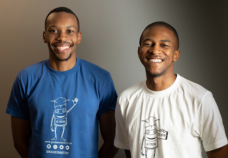 Two of the Gradesmatch founders, Lebogang Diale and Unathi September.