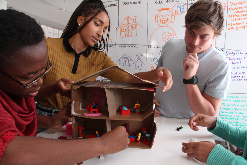Students on the Foundation Programme in Design Thinking build prototypes of their proposed solutions, which they also test with their targeted enduser.