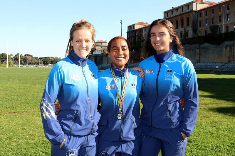 UCT athletes (from left) Megan McCarley, Amy Abrahams and Rebekah Swanepoel helped earn a gold medal in the women's half marathon championship.