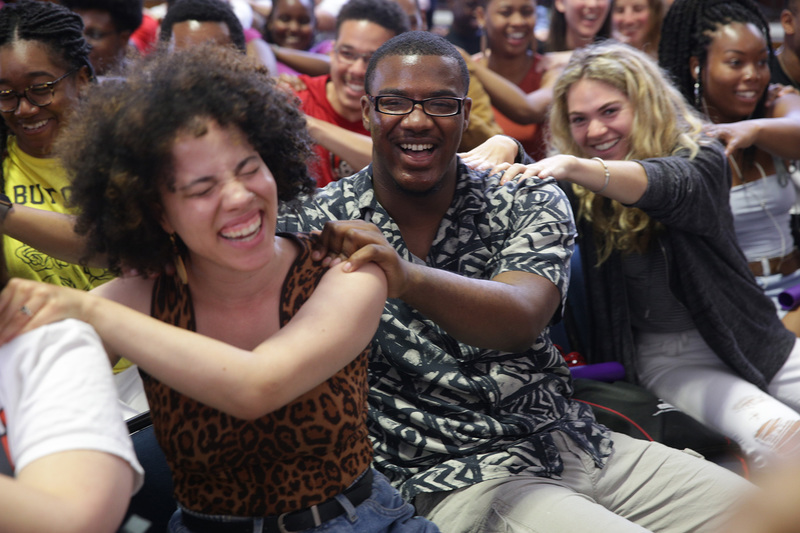 International students find their groove at the mass drumming session by the Drum Café, which followed VC Prof Mamokgethi Phakeng's welcome in the Sarah Baartman Hall.