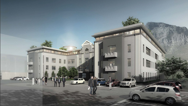 A visual of the Neuroscience J-Block being built at Groote Schuur Hospital.