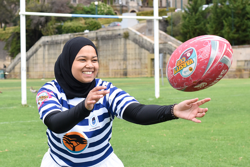 Zahraa Hendricks, who has previously played only touch rugby, is looking forward to the new and exciting challenge of joining the UCT women's rugby crew.