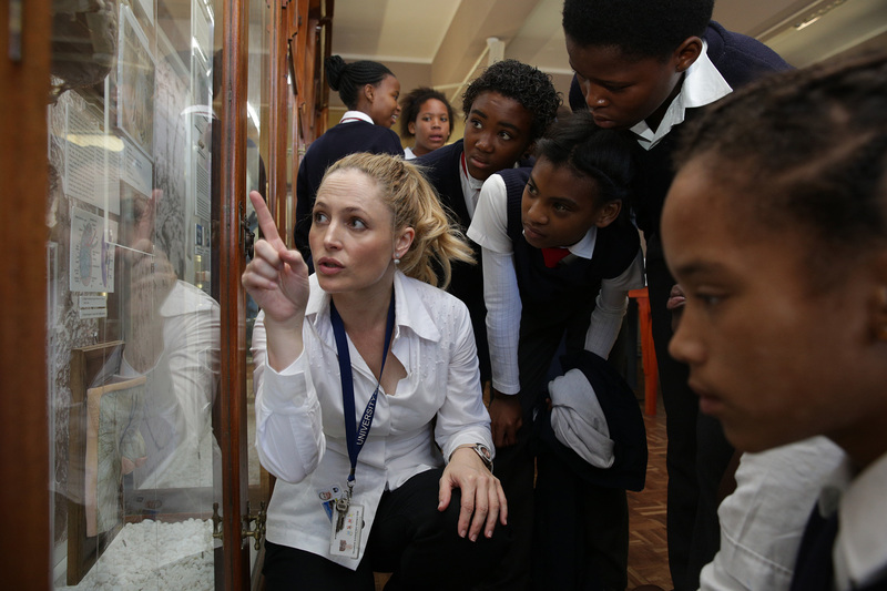 Learners from Capricorn Primary School engage in discussions on the body's most vital organ – the brain – with UCT's Dr Ursula Rohlwink during Brain Awareness Week.