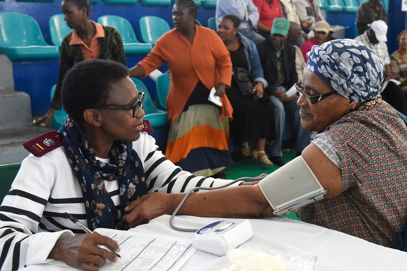 This Gugulethu resident gets some personal attention from a health professional during the Health and Wellness Fair at the local sports complex.