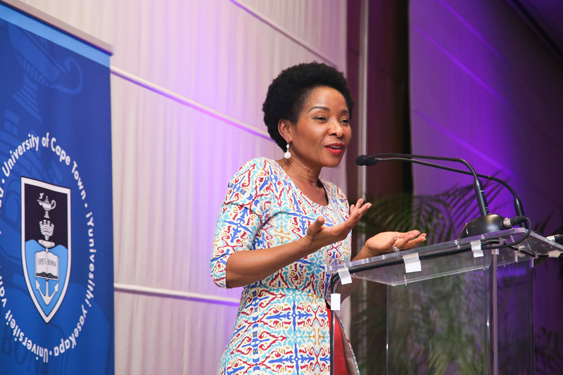 VC Prof Mamokgethi Phakeng addresses deans, deputy deans, heads of department and other guests at the HoD dinner at the Vineyard Hotel.
