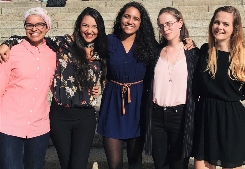 Five of the six top women in the civil engineering honours class. They are (from left) Waseefa Ebrahim, Juliana Diniz, Lansea Loubser, Jemma Richmond and Chloe Bolton. Dilys Mneney is absent.