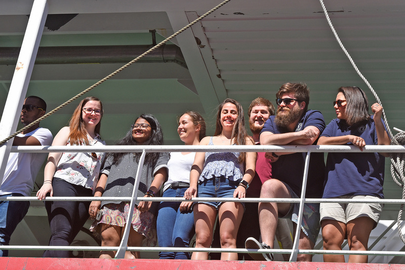 The SA Agulhas II docks in Cape Town on 14 March. On deck are UCT postgraduates (from left) Shantelle Smith, Riesna Audh, Jessica Burger, Raquel Flynn, Kurt Spence, Harry Luyt and Tahlia Henry. <b>Photo</b> Brenton Geach.