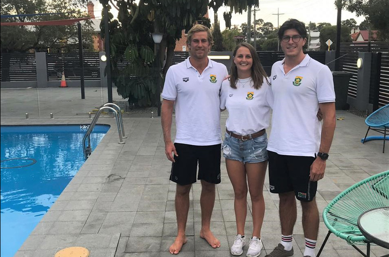 UCT'S water polo Springboks in Australia. They are (from left) Liam Neill, Nicola MacLeod and David Rom.