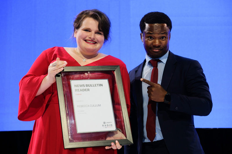 UCT's award-winning newsreader, Rebecca Cullum, at the annual Liberty Radio Awards.