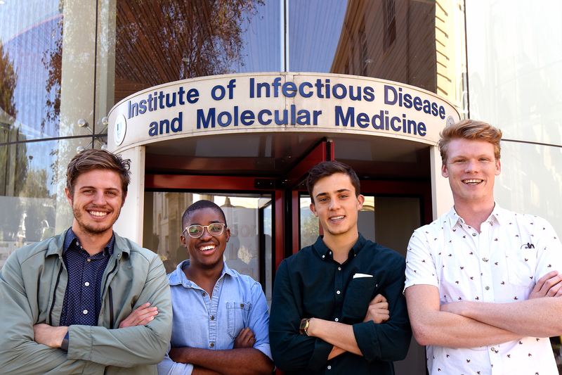 Nick Loxton, president of the UCT Surgical Society (left,) is seen here with (from second left) Sipho Ndereya, Matthew Potter and Liam Devenish, who are heading up the Futures in Health Accelerator Project.