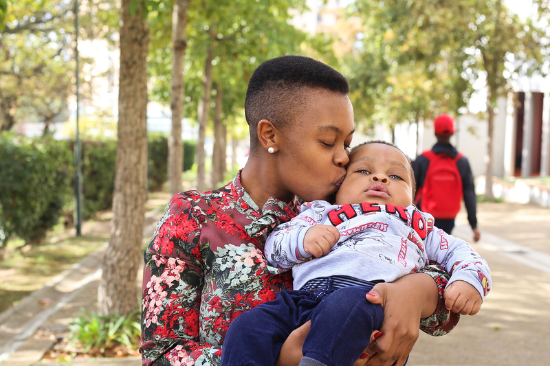 Juggling parenthood and postgraduate studies: master's student Naledi Maponopono with her son, Lubanzi.