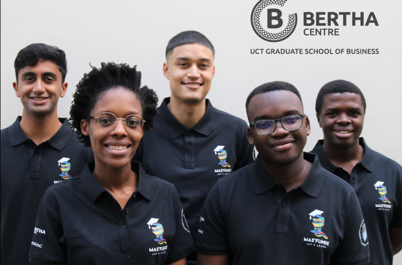 The five UCT students who are at Oxford University this weekend representing the university at a global competition. They are (back from left) Prashant Venkat, Phalo Maurice-Mopp and Thuba Mzila, and (front from left) Mabothe Maleka and Tlhogi Dube.