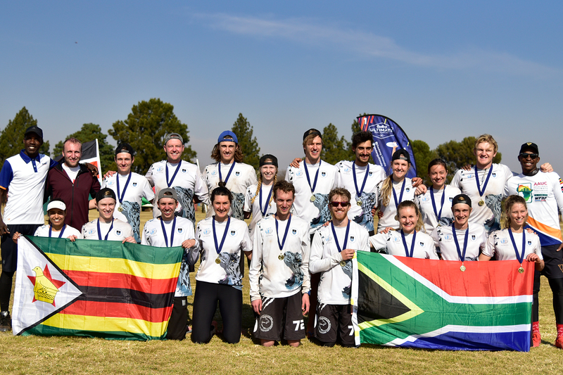 UCT's Flying Tigers first team celebrate their win in the mixed division of the WFDF 2019 All Africa Ultimate Championships.