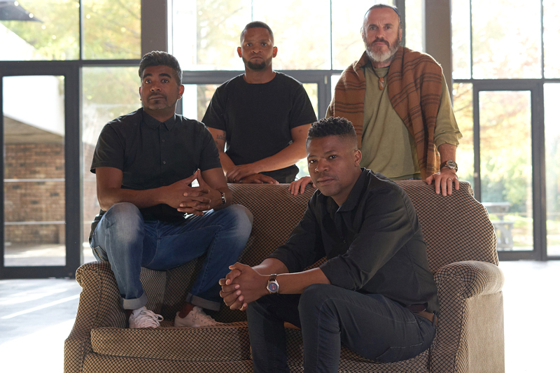 Cast members Loukmaan Adams, Peter Christians and Thando Doni with director Heinrich Reienhofer.
