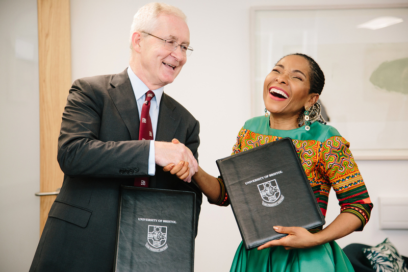 VC Prof Mamokgethi Phakeng and Prof Hugh Brady, president of the University of Bristol, shake on the new agreement following this week's signing ceremony.