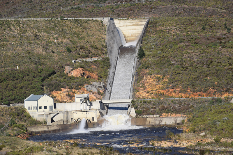 The Berg River Dam overflows the spillway on Friday, 26 July. <b>Photo </b>Kevin Winter.
