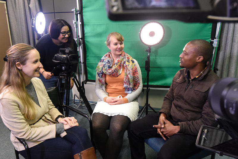 The team behind UCT's 20th MOOC, Educating Deaf Children. They are (from left) researcher Jane Kelly, video producer Laura Skippers, lead online learning designer Lauren Butler and graphic designer Sandiso Mchiza.