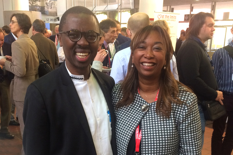 The late Prof Bongani Mayosi with UCT Assoc Prof Liesl Zühlke after she delivered a lecture on RHD at the 2017 At the Limits cardiology meeting in Cape Town.