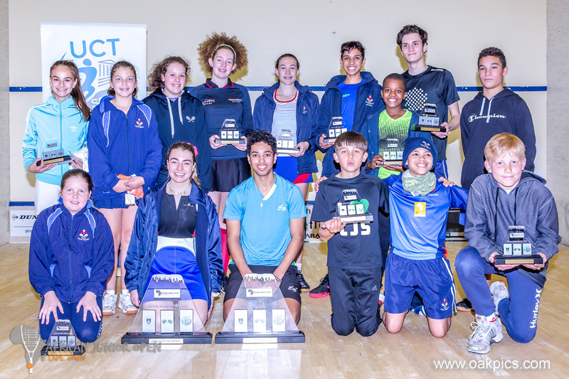 Triumphant smiles from all the winners in the 3rd African Junior Open Squash Tournament at UCT.