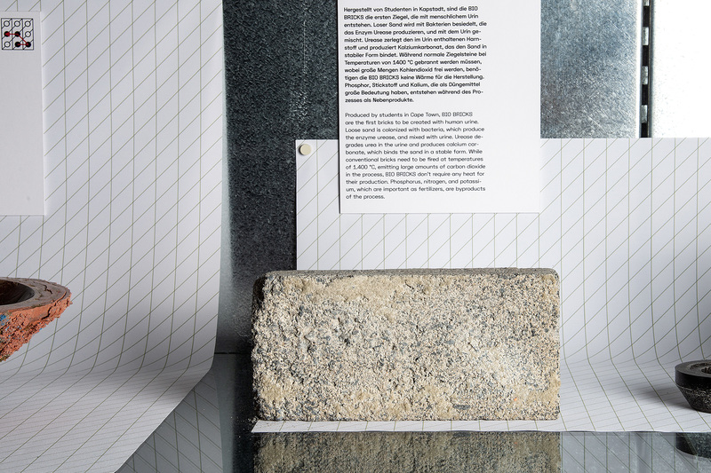 "The world's first bio-brick made from urine on display at the MAK Design Lab in Austria. The other objects visible in the image are ""Blood-related"" by Basse Stittgen and ""Protein Bowl"" by Tessa Silva."
