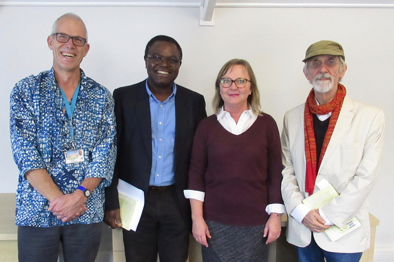 Robert Morrell with Professor Francis Nyamnjoh (Social Anthropology, UCT), Veronica Klipp (Wits University Press) and Dr Colin Darch (Democratic Rights and Governance Unit) at the UCT book launch.
