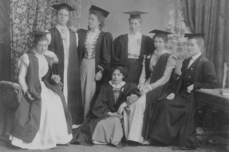 The BA Lit class of 1899 (from left) Margarete von Oppell, Hettie McGregor, Selina Gordon, May le Roux, Helen Ethel Bennett, Agnes Bissett and Madeline Russell. By 2018, over half of the UCT students registered at UCT were women. <strong>Photo</strong>&nbsp;UCT Archives.