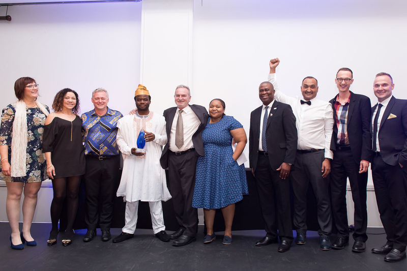 The RC&I team (from left): SARIMA president, Ms Ela Romanoswska; Lucinda Rooza; Andrew Bailey; Wasiu Afolabi; Piet Barnard; Tshepi Khahlu; director general of the Department of Science and Innovation, Dr Phil Mjwara; Saberi Marais; Philip Hoekstra and Francois Oosthuizen.