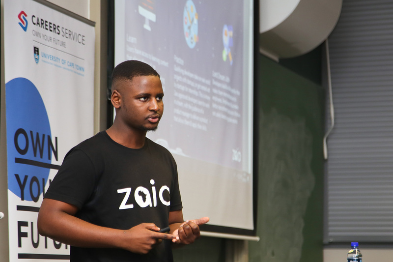 Mvelo Hlope, whose initiative Zaio won him the overall prize, presents details of the gamified platform during one of the regional rounds at UCT earlier in the year. <b>Photo</b> Je'nine May.