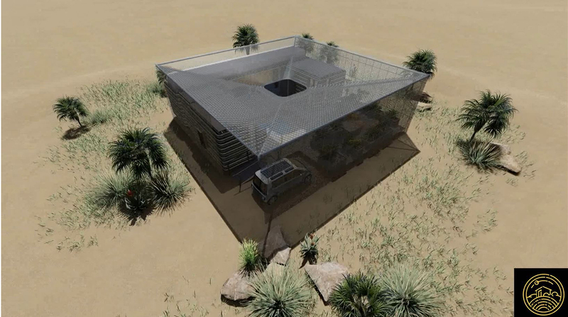 "Rendition of House Mahali from above, the only sub-Saharan entry in the Solar Decathlon African competition to create the best wholly solar-powered, ""green"" house."