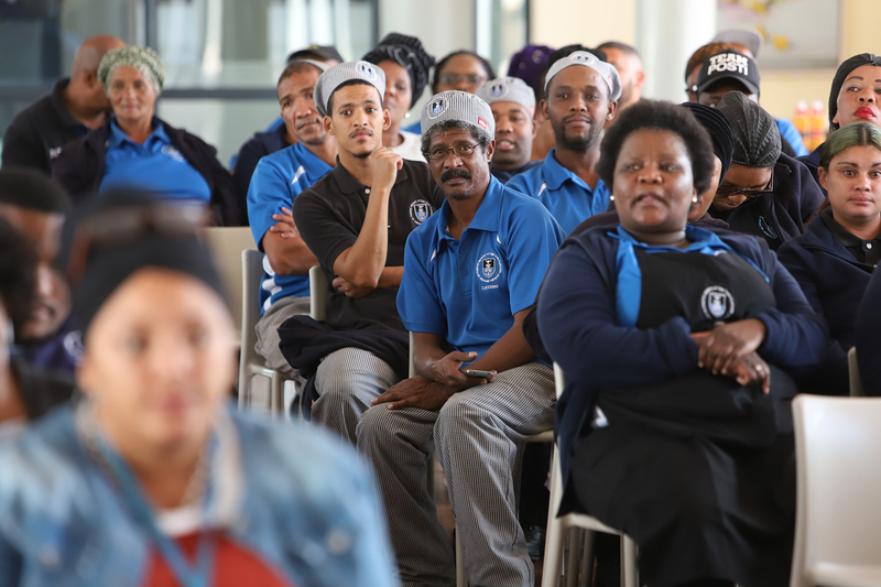 Annual meetings were held with UCT's residence cleaning and catering staff to build relationships and recognise training and skills development. This group of catering staff was photographed at the meeting in Graça Machel Hall. <b>Photo</b> Michael Hammond