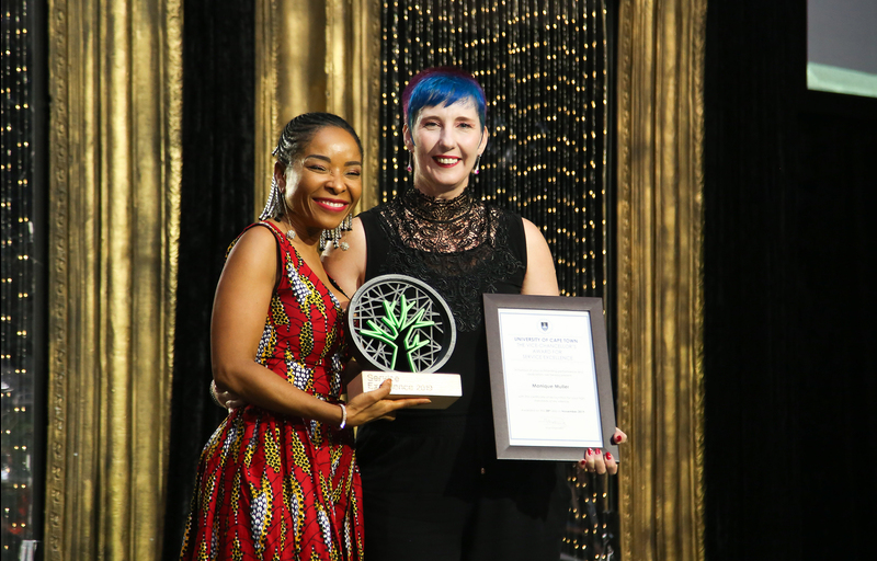 Chemical safety officer in the UCT Departments of Chemistry and Chemical Engineering, Monique Muller, won the Vice-Chancellor's Award for Service Excellence. She was congratulated by VC Prof Mamokgethi Phakeng. <b>Photo</b> Je'nine May.