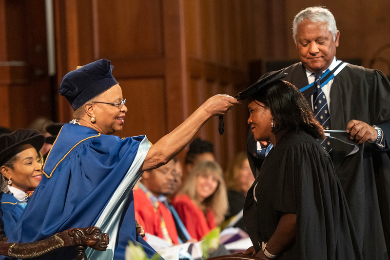 Graça Machel presides over her last graduation season as chancellor of UCT in the newly named Sarah Baartman Hall. She has served the university for 20 years, and her second term ends on 31 December.