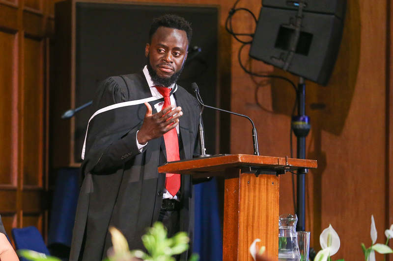 Sandras Phiri lauded graduands for their hard work and commitment during the Faculty of Health Sciences' second graduation ceremony.