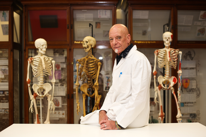 Doyen of clinical anatomy, neurosciences and embryology, Prof Graham Louw in the Anatomy Museum. He retired from UCT at the end of December after a career of 31 years.