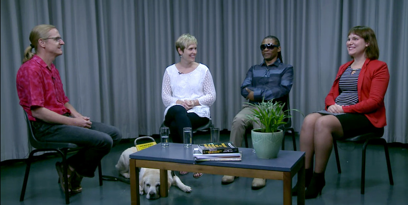 (From left) Brian Watermeyer, guide dog Panda and course participants Michelle Botha, Benedict Khumalo and Heidi Lourens during a panel discussion. These discussions form an integral part of the MOOC and take place at the end of every week.