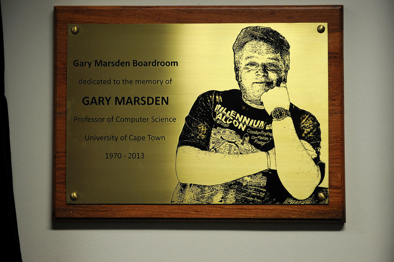A meeting room in the Department of Computer Science was recently named in honour of Prof Gary Marsden.
