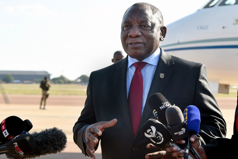 President Cyril Ramaphosa briefing the media about the country's first case of COVID-19 at Waterkloof Air Force Base in Pretoria.