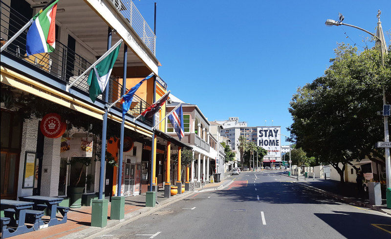 Long Street, one of Cape Town's busiest streets, during the nationwide lockdown.