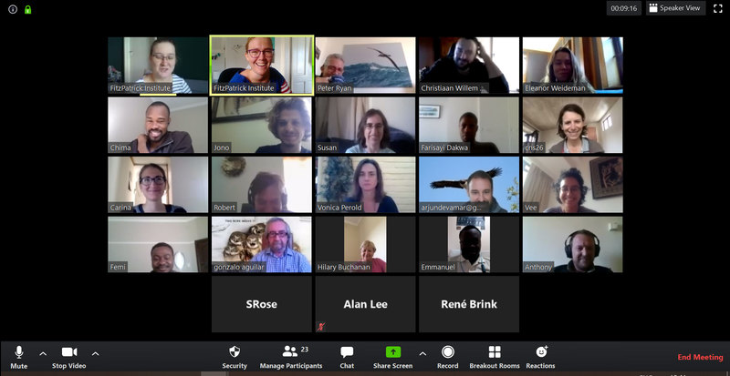 A screenshot of the FitzPatrick Institute's virtual weekly tea meeting.
