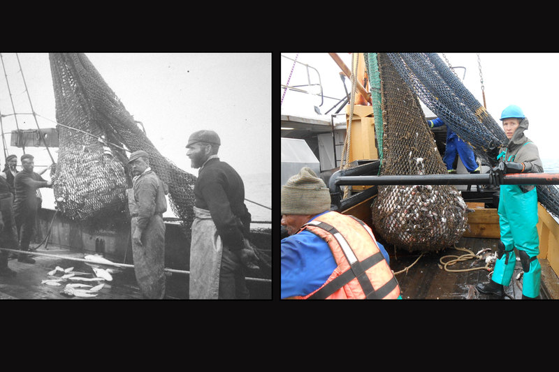 Then and now: The fisheries trawl of 1897 to 1904 (left) and (right) the recreated trawl in 2015, with Dr Jock Currie in the picture. Currie now works as a postdoctoral research fellow at the South African National Biodiversity Institute and Nelson Mandela University. <b>Photo</b> Supplied.
