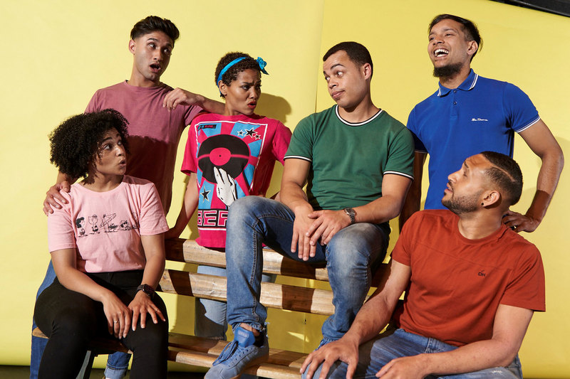 "The cast of ""Living Coloured"" – (back row, from left) Anzio September, Crystal Finck, Eldon van der Merwe, Tashreeq de Villiers, (front, from left) Alexis Petersen, Yvan Potts."