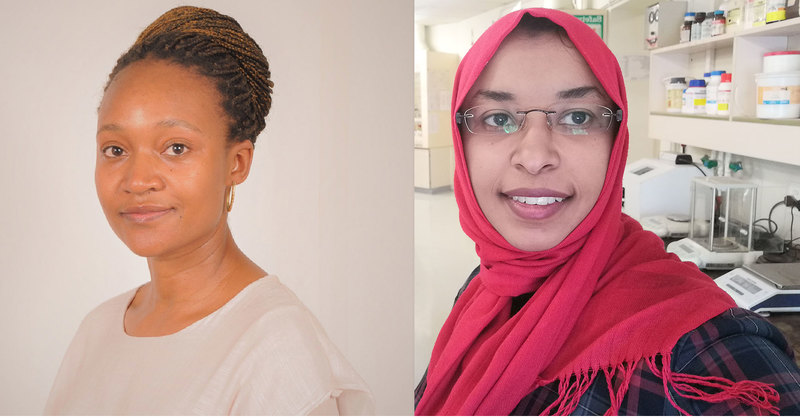 UCT's Tsaone Tamuhla (left) and Doaa Ali were chosen from a pool of nearly 330 applications for L'Oréal-UNESCO For Women in Science Sub-Saharan Africa Young Talent Awards.
