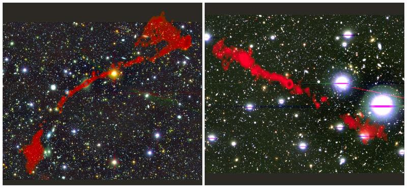 The two giant radio galaxies found with the MeerKAT telescope. In the background is the sky as seen in optical light. Overlaid in red is the radio light from the enormous radio galaxies as seen by MeerKAT. Left: MGTC J095959.63+024608.6. Right: MGTC J100016.84+015133.0.