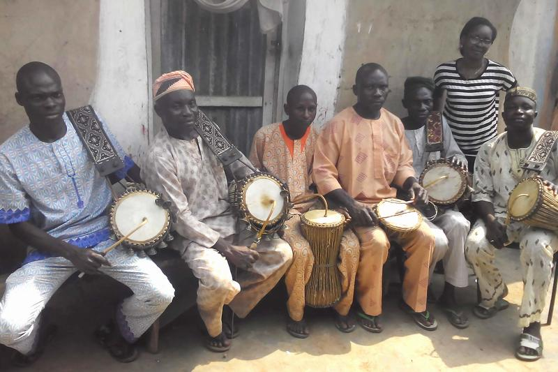 Winning PhD thesis author Dr Cecilia Durojaye (back right) with the Ifesowapo Dùndún ensemble in Igbo-Ora, Nigeria, photographed as part of her field data (with the participants' permission).