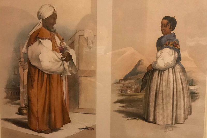 Former slave, imam, teacher and tailor Hadje Gasanodien, or Carel Pelgrim, and his wife, Nasea, painted by George French Angas, 1849 (Castle of Good Hope). <b>Photo</b> Halim Gençoğlu.