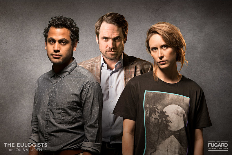 [From left] Kiroshan Naidoo, Pierre Malherbe and Emily Child star in Louis Viljoen's latest play The Eulogists.
