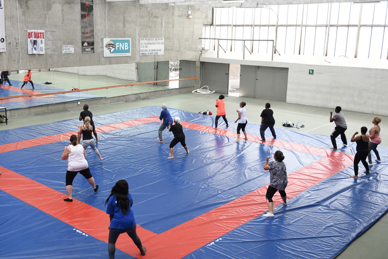 Working up a sweat at the new lunchtime aerobics sessions at UCT's Sports Centre.