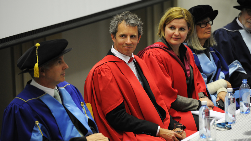Prof Alexander Paterson with the platform party at his inaugural lecture: Vice-Chancellor Dr Max Price (first from left), Prof Hanri Mostert (third from left) and Deputy-Vice-Chancellor Prof Sandra Klopper (fourth from left).