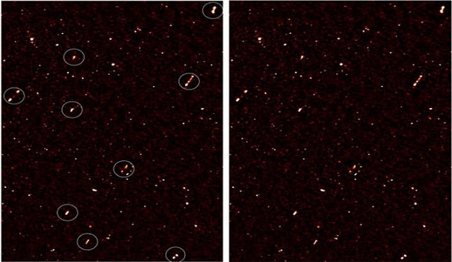 An image of the deep radio map covering ELAIS-N1 region, with aligned galaxy jets. The image on the left has white circles around the aligned galaxies; the image on the right is without the circles. Image supplied by Prof Russ Taylor, UCT